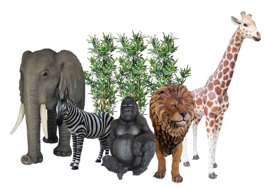 Safari Life Size Jungle Package Life Size Resin Statues - LM Treasures Prop Rentals