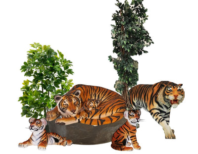 Safari Tiger Family Jungle Package Life Size Resin Statues - LM Treasures Prop Rentals