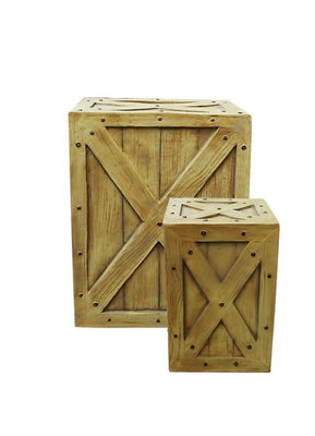 Crate Wood (Set of 2) Large/Small Jungle Display Prop Decor Resin Statue - LM Treasures Prop Rentals