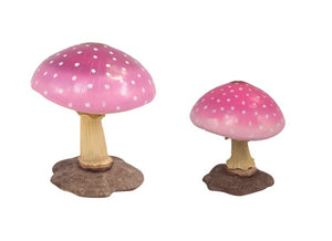 Pink Mushroom Set of 2 Over Sized Statue (Small & Medium)