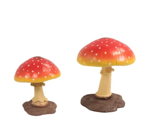 Red Mushroom Set of 2 Over Sized Statue (Small & Medium)