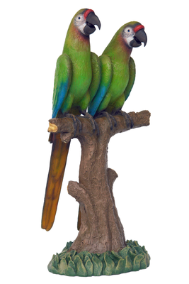 Macaw Buffon Lover Parrots On Branch Life Size Statue
