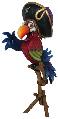 Comic Bird Parrot Pirate On Stand With Hat Animal Prop Life Size Resin Statue - LM Treasures Prop Rentals