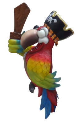 Comic Bird Parrot Pirate No Stand With Sword Animal Prop Life Size Resin Statue - LM Treasures Prop Rentals