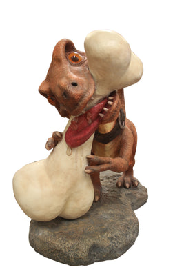 Comic Dino Dog With Bone Decor Prop Statue