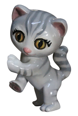 Comic Cat Kitten Gray Decor Prop Statue
