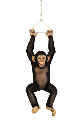 Hanging Monkey Chimpanzee On Rope Life Size Statue
