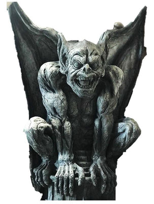 Gargoyle on Base 8 ft Life Size Movie Prop Decor Statue - LM Prop Rentals