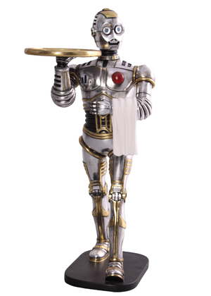 Robot Android Walking Butler Small Statue