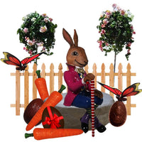 Easter Bunny Package Life Size Resin Statues - LM Treasures Prop Rentals