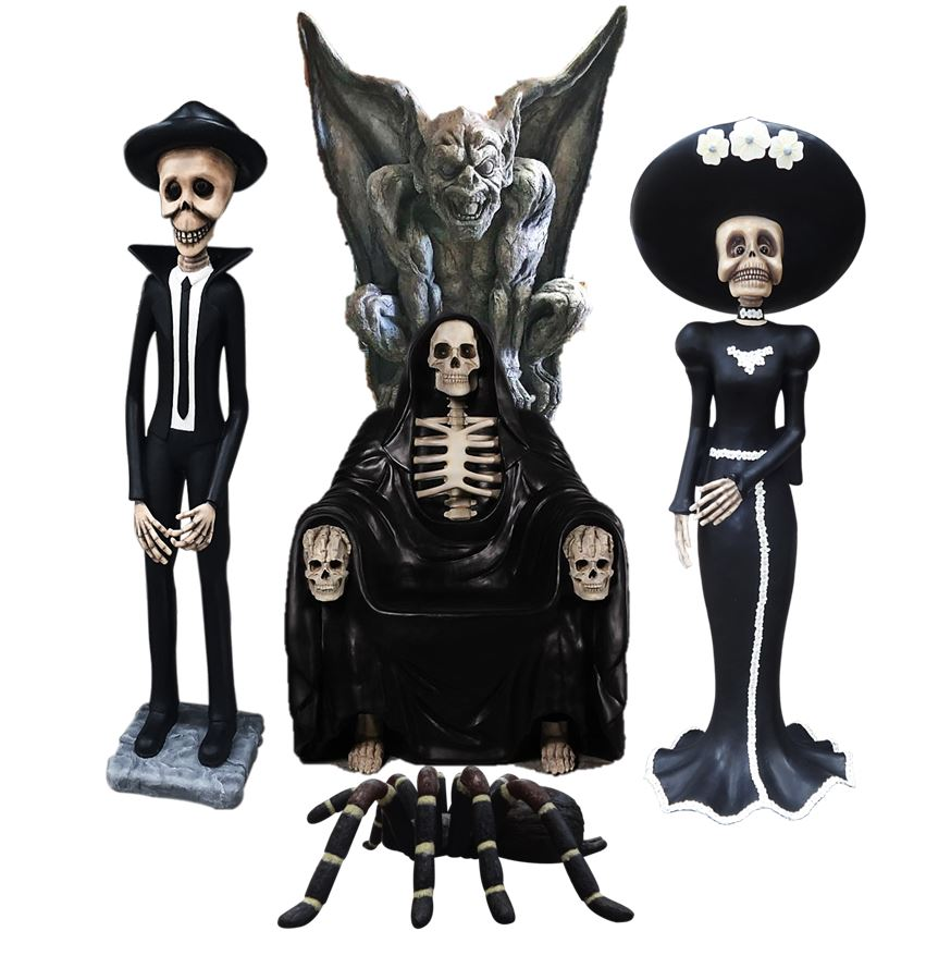 Halloween Skeleton Package Life Size Resin Statues - LM Treasures Prop Rentals
