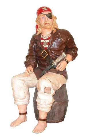 Pirate Captain Sitting on Barrel Statue Life Size