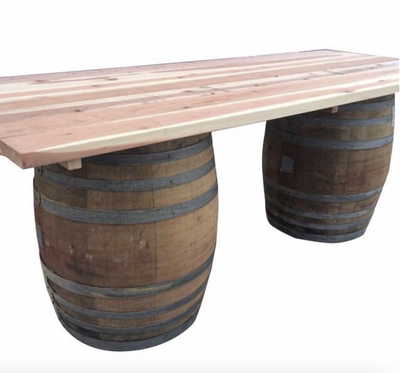 Barrels Wine/Whiskey Table Rustic Prop Decor - LM Prop Rentals