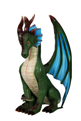 Small Green Sitting Dragon Life Size Statue