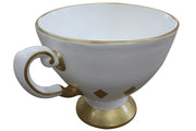 Cup Tea Gold And White Over Sized Display Prop Decor Resin Statue - LM Prop Rentals