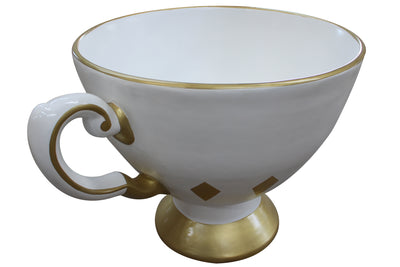 Cup Tea Gold And White Over Sized Display Prop Decor Resin Statue - LM Treasures Prop Rentals