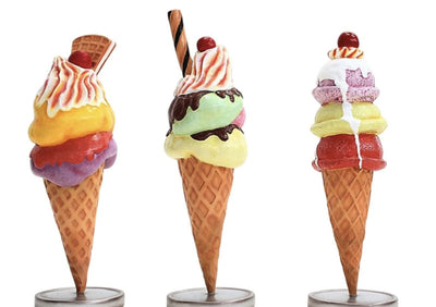 Ice Cream Cone Three Scoop (Set of 3) Table Top Restaurant Prop Decor Resin Statue - LM Prop Rentals
