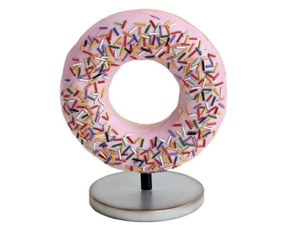 Donut Pink Table Top Restaurant Prop Resin Decor Statue - LM Prop Rentals