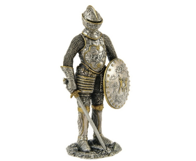 Medieval Knight in Armor Shield Sword Standing Life Size Statue - LM Treasures Prop Rentals