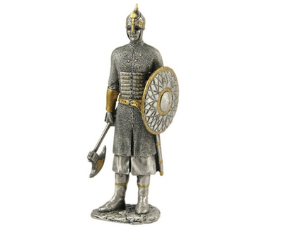 Medieval Knight in Armor Shield Battle Ax Standing Life Size Statue - LM Treasures Prop Rentals