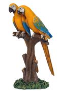 Mutation Yellow Blue Macaw Lover Parrots On Branch Life Size Statue