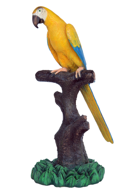 Mutation Macaw Yellow Blue Parrot On Branch Life Size Statue