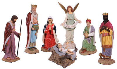 Nativity Set of 8 Life Size Christmas Statues