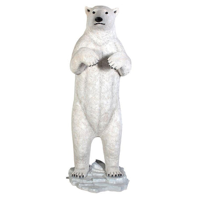 Polar Bear Standing On Base Life Size Statue