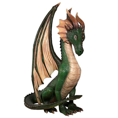 Green Sitting Dragon Life Size Statue