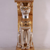 Egyptian Animal Bastet Cat Goddess Pillar Life Size Prop Decor Resin Statue