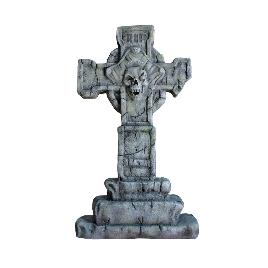 Pirate Prop Captain Cross Tombstone Statue Resin Nautical Decor - LM Treasures Prop Rentals