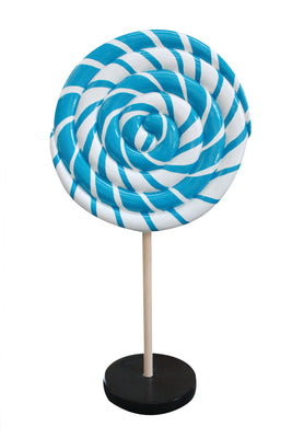Round Lollipop Twirl Candy Mini Blue Statue - LM Prop Rentals