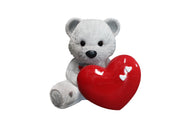 Bear Teddy Love White Over Sized Toy Prop Decor Resin Statue - LM Prop Rentals