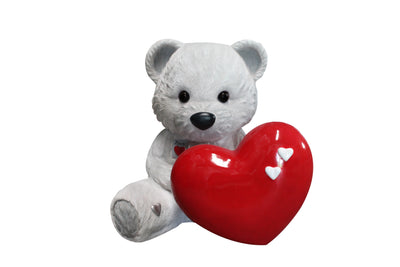Bear Teddy Love White Over Sized Toy Prop Decor Resin Statue - LM Treasures Prop Rentals