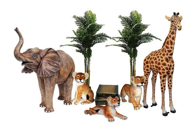Safari Babies Jungle Package Life Size Resin Statues - LM Treasures Prop Rentals