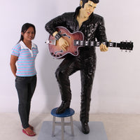Singer Elvis In Black Life Size Statue