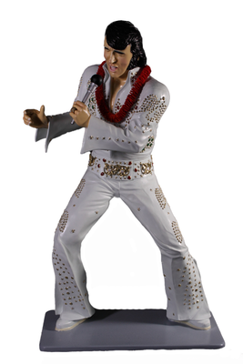 Singer Elvis In White Standing Life Size Statue