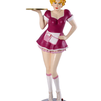 Roller Skater Waitress In Purple Life Size Statue