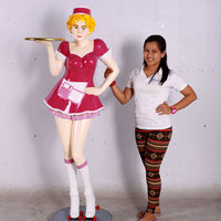 Roller Skater Waitress In Pink Life Size Statue