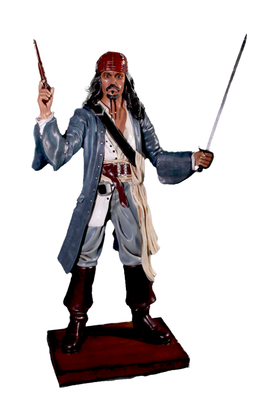 Fighting Pirate Captain Jack Life Size Statue