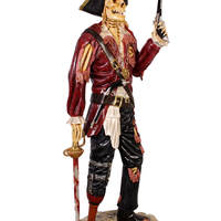 Pirate Skeleton With Gun Life Size Statue