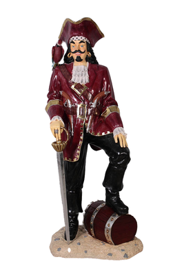 Pirate Captain Morgan With Barrel Life Size Statue