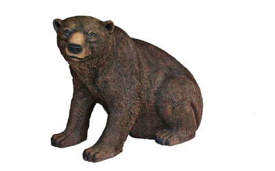 Brown Grizzly Bear Sitting Life Size Prop Resin Statue