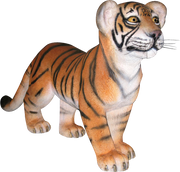Tiger Bengal Cub Standing Animal Prop Life Size Decor Resin Statue - LM Prop Rentals