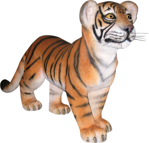 Tiger Bengal Cub Standing Animal Prop Life Size Decor Resin Statue - LM Treasures Prop Rentals