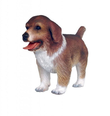 Dog Australian Shepherd Puppy Light Brown Animal Prop Life Size D̩ecor  Resin Statue - LM Prop Rentals