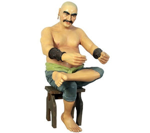 Pirate - Moreno Bald Man Life Size Statue - stool sold sep. - LM Prop Rentals