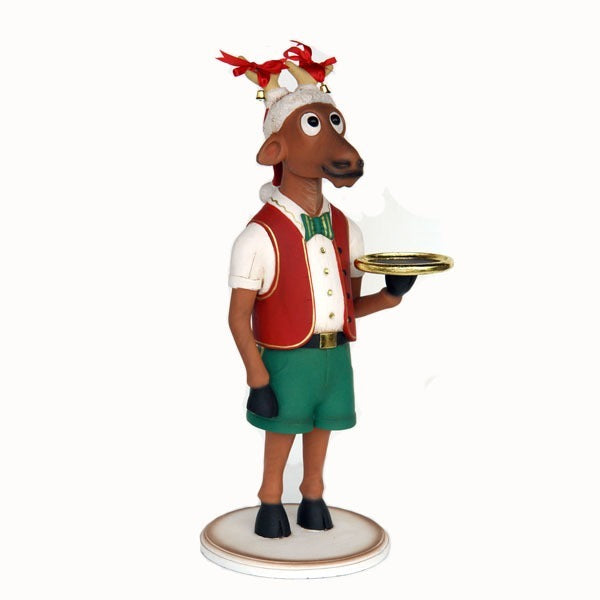 Reindeer Boy Standing With Tray Christmas Prop Resin Statue - LM Prop Rentals