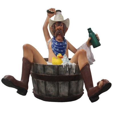 Bathing Cowboy with Rubber Duck Statue - LM Prop Rentals