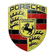 Mosaic Sign Porsche Emblem Look Alike Wall Decor Resin Statue - LM Treasures Prop Rentals